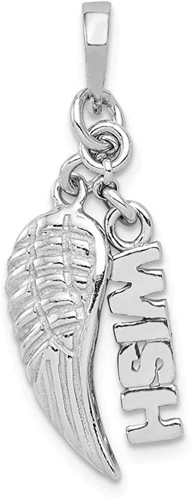 Sterling Silver Rhodium-Plated Polished Textured Wish Angel Wing Pendant on a Sterling Silver Cable Snake or Ball Chain Necklace