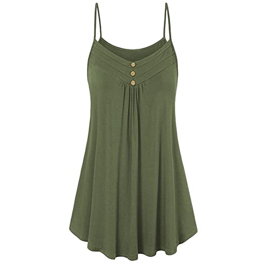 fc59f06ee2e483 TWGONE Tunic Tank Tops for Women Plus Size Summer Loose Button V Neck Cami  Vest Blouse