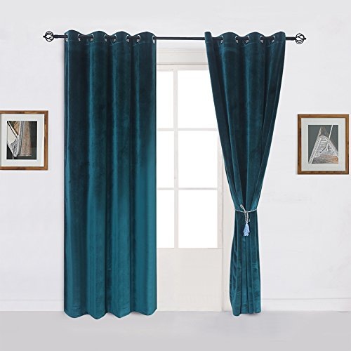 Super Soft Luxury Velvet Set of 2 Dark Green Blackout Energy Efficient Grommet Curtain Panel Drapes Peacock-blue 52Wx96L(2 panels)