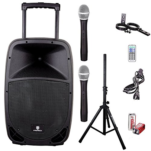 Rechargeable Pa System - PRORECK FREEDOM 15 Portable 15-Inch 800 Watt 2-Way Rechargeable Powered Dj/PA Speaker System with Bluetooth/USB/SD Card Reader/ FM Radio/Remote Control/Wireless Microphones/Speaker Stand