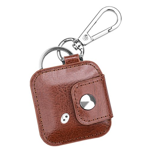 Fintie Tile Mate/Sport/Style Case with Carabiner Keychain, Anti-Scratch Vegan Leather Protective Skin Cover for Tile Mate (2016 Release), Tile Sport, Tile Style Key Finder Phone Finder, Brown