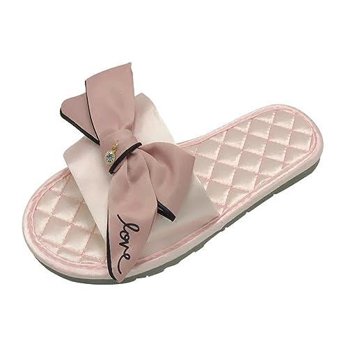Zapatillas de Interior para Mujer de Verano Lazo de Satén Fondo Plano Prueba de Deslizamiento Remolque casero y Fresco: Amazon.es: Zapatos y complementos