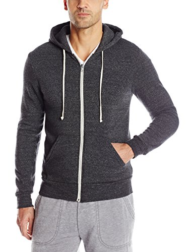 - Alternative Men's Rocky Zip Hoodie Sweatshirt, Black, Large