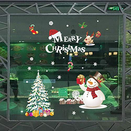Wall Decal Cute Santa Claus Christmas Self-Adhesive Window Decorations Christmas Decorations Upgrade Stars Christmas Reindeer Stickers Snowflakes Stickers Winter Decoration Christmas Removable ()