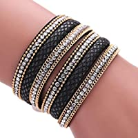 AutumnFall® Stackable Rhinestone and Alloy Studs Black PU Leather Wrap Bracelet (Black)