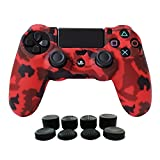 Hikfly Silicone Gel Controller Cover Protector Kits for Sony PS4 /PS4 Slim/PS4 Pro Controller Video Games(1 x Controller Cover with 8 x FPS Pro Thumb Grip Caps)(Red)