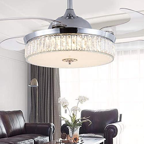 WUPYI 42 Inch Modern Crystal Ceiling Fan