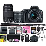 Canon EOS Rebel SL2 24.2 MP DSLR Camera (Wi-Fi) Body, Canon EF-S 18-55mm 4-5.6 IS STM Lens, Canon EF 75-300mm 4-5.6 III Lens with Deluxe Camera Works Accessory Bundle & 32GB High-Speed Memory Card