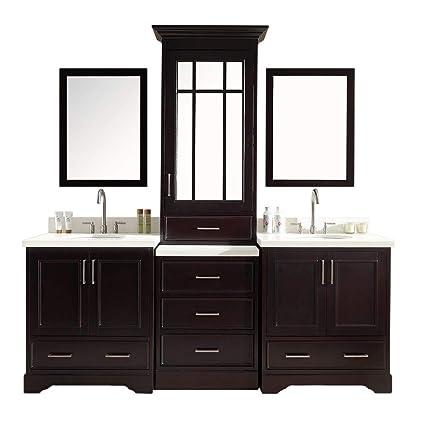 Enjoyable Dkb Geraldina 85 Double Sink Bathroom Vanity Set In Espresso With Mirror Download Free Architecture Designs Scobabritishbridgeorg