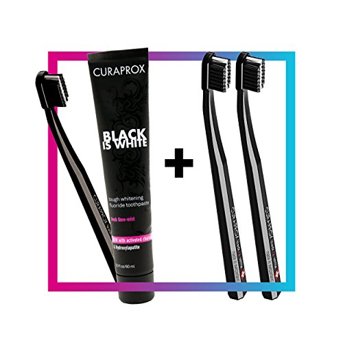 Curaprox Black is White Toothpaste Charcoal Whitening Set + CS 5460 Toothbrush Duo Pack