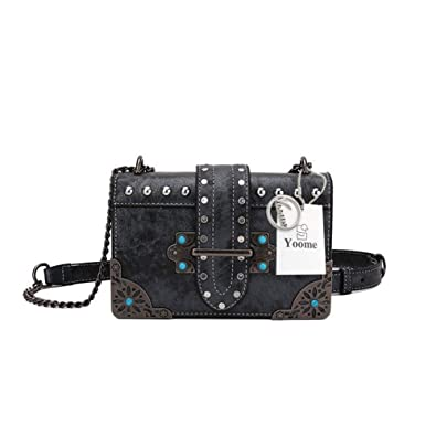 Yoome Women Small Crossbody Shoulder Bag Punk Chain Clutch Retro Rivet  Handbags for Ladies - Black e3705c8860f3