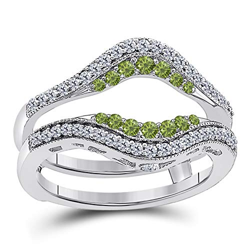 (Star Retail 14k White Gold Plated Alloy Double Row Pave Set Classic Style Halo Engagement Wedding Enhancer Ring Guard with CZ Green Peridot)