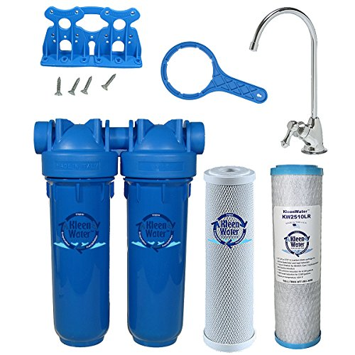 Chlorine Sediment Chloramine Lead Water Filter, KleenWater KW1000 Chemical Removal Under Sink Drinking Water Filtration System, Chrome Faucet, Two Filter Cartridges (Chrome) by KleenWater