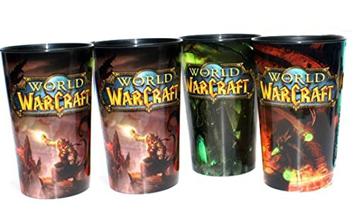 World of Warcraft Collector Cups Set of 4 Plastic 32 Ounce (Contains One Duplicate)