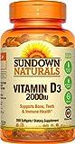 Sundown Naturals Vitamin D3 2000 IU, 350 Softgels
