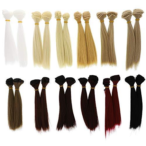 Bright Creations Doll Making Hair Wefts (24 Pack), 12 Colors (Doll Making Supplies)