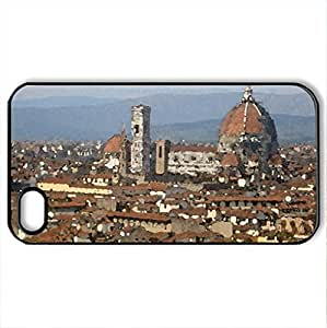FLORENCE- EUROPE - Case Cover for iPhone 4 and 4s (Watercolor style, Black)