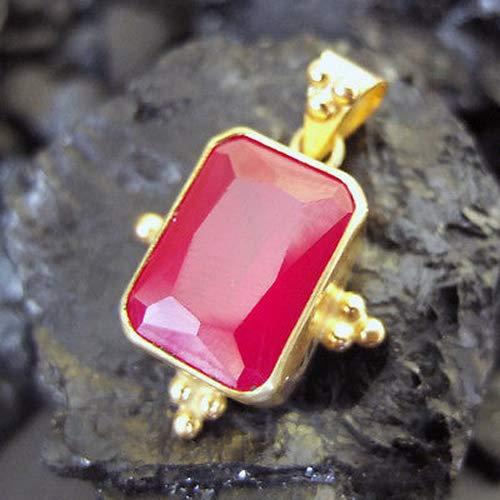 Ancient Design Handmade Designer Octagon Large Ruby Pendant 22K Gold Over 925K Sterling Silver ()
