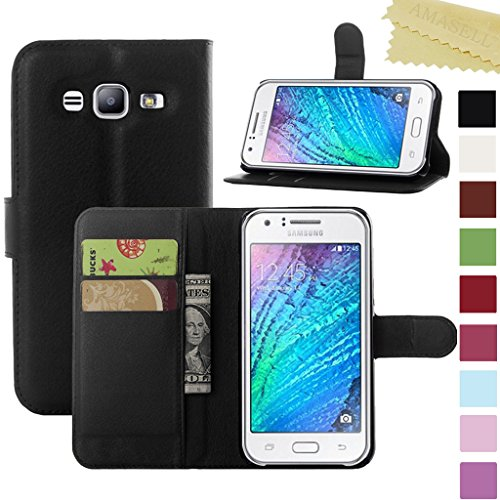 Samsung Galaxy J1 Ace Case, AMASELL PU Leather Wallet Flip Open Pocket ID Credit Card Holders / Cash Slots Case Cover for J1 Ace, J110M, 4.3 inch 2015, - Cover Galaxy Ace Samsung Flip