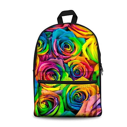 YOUNGERBABY Colorful Flower Print Fashion Backpack For Teen Girls School Bag Women