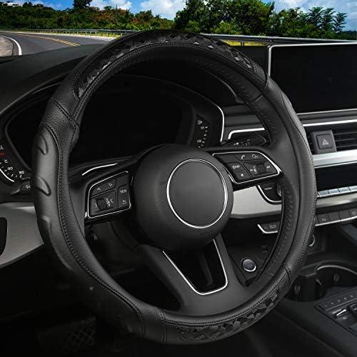 Microfiber Leather Car Steering Wheel CoverGrip Contours Universal 15 Inch Breathable Anti-Slip Auto Steering Wheel Protector (BLACK-BLACK)