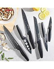Nutriblade Knife Set by Granitestone, High Grade Razor Sharp Blades Kitchen Knife Set, Toughened Stainless Steel with Nonstick Mineral Coated Surface, Rubberized Ergonomic Grip, Dishwasher Safe