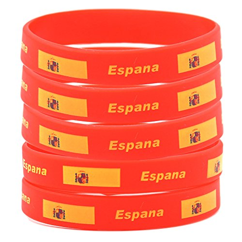 SpringPear 5X Silicon Wristbands with Spanish Flag for FIFA World Cup Soccer Fan Bracelets (5 Pcs) ()