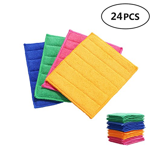 Betwoo Microfiber Dish Cloths Washcloths with Sponge Pad for Kitchen (24 Pack)