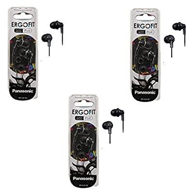Panasonic RPHJE120K ErgoFit Earbuds Stereo In-Ear Headphones 3-PACK (RP-HJE120 Black)