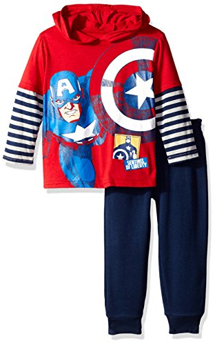 Marvel Boys' 2-Piece Knit Hooded Pullover Set,Marvel Gray,4T (America Clothes Kids compare prices)