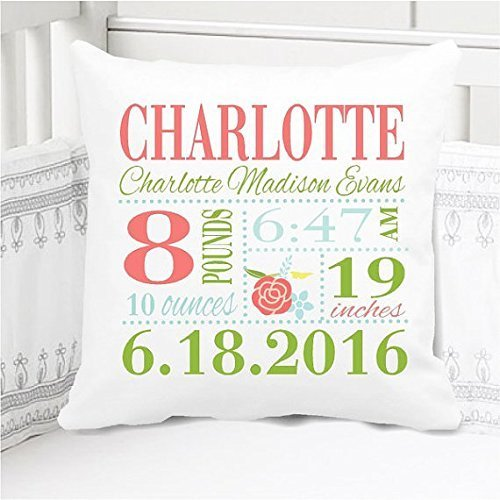 Sew Cute by Me Designs Original Birth Announcement Pillow for Baby Girls Nursery in Coral and Green - Includes Personalized Pillowcase and Pillow Insert 14x14 or 16x16 by Sew Cute by Me Designs