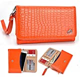 NuVur153; Crocodile Embossed Faux Leather ::Smartphone:: Universal Wallet Clutch Fits Hisense EG970 Mira|Orange