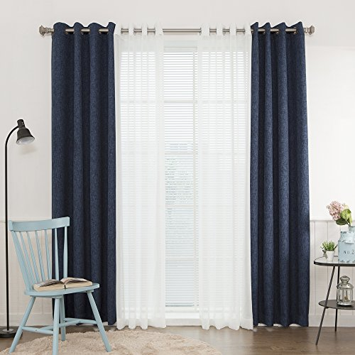 Best Home Fashion Mix and Match Muji Sheer Linen Look and Heathered Linen Look Blackout 4 Piece Curtain Set - Grommet Top - Blue - 52