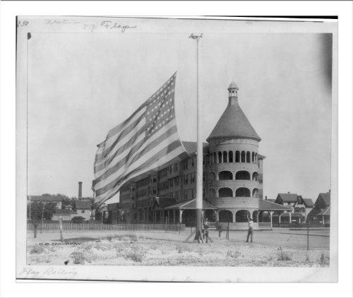 Historic Print (L): Flag raising at the Engleside [Hotel], Beach Havens, N.J.