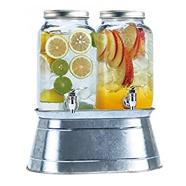 Simple Flow Double Glass Mason Jar Drink Dispensers 3.5 Liters Each