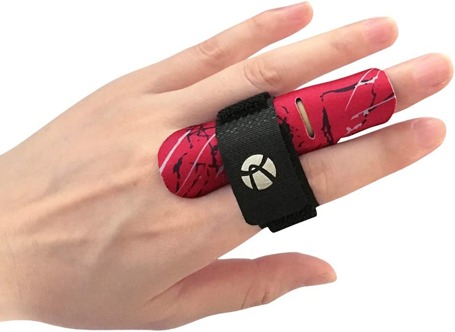 Kuangmi dedo manga soporte Protector dedo evita lesiones durante la practica deportiva 1 pieza,Red S/M