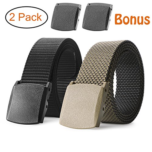 JASGOOD Unisex Nickel Free Belt 1.5 In Nylon Adjustable Web Belt with Plastic - Adjustable Web