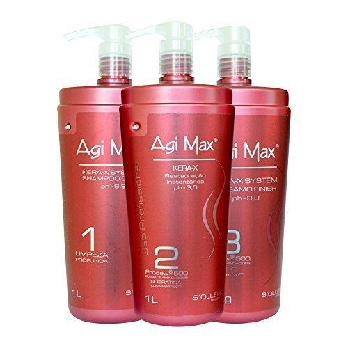 Agi Max Brazilian Keratin Hair Treatment Kit 1 liter - 3 Steps (3 x 1000ml) - The Best Straightening! by Agi Max Traditional