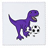 3dRose All Smiles Art Sports and Hobbies - Funny Cute Purple T-rex Dinosaur Playing Soccer Cartoon - 12x12 inch quilt square (qs_263741_4)