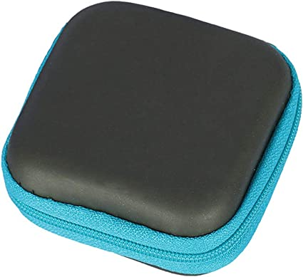 Estuche de transporte a prueba de golpes de poliuretano cuadrado organizador de cables para audífonos auriculares Bluetooth inalámbrico auriculares accesorios cargador cables, color azul: Amazon.es: Oficina y papelería