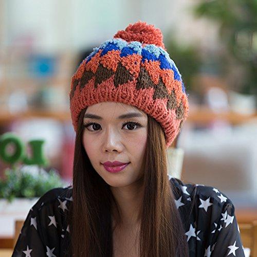 Maozi Coreana Sombrero señoras Aire de para ORANGE Salvaje Simple Orange Lana al Ventilador versión Mezclados Colores Sombreros de de Invierno Libre Punto frUqfw5