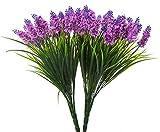 Budding Joy 2pcs Artificial Flower Purple Lavender Bouquet 24 Heads for Home Decor and Wedding Decorations (Red lotus)