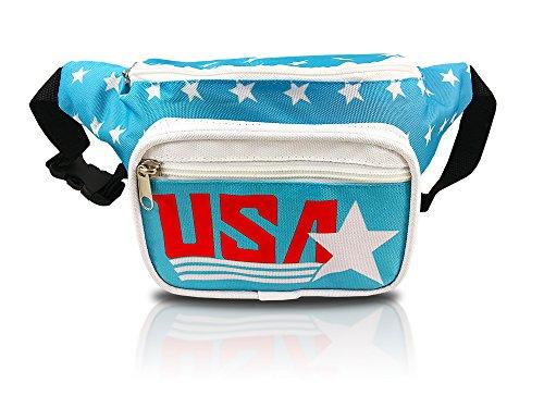 nineteen80something USA Fanny Pack/Patriotic Waist Bag/Hip Fashionable (American Flag Retro Blue)