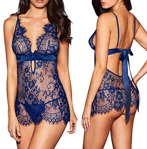 AnloveKiss Women Sexy Lingerie Black Eyelash Lace Chemise Babydoll Nightwear Set See-Through (M, Blue) - Elegant Lingerie