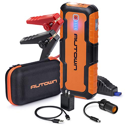 - AUTOWN Car Jump Starter - 21000mAh 1000A Peak, 12V Auto Battery Booster with Quick Charge (Up to 8.0L Gas, 6.5L Diesel Engine), Portable Power Pack & Jump Box with Smart Jumper Cables and LED Light