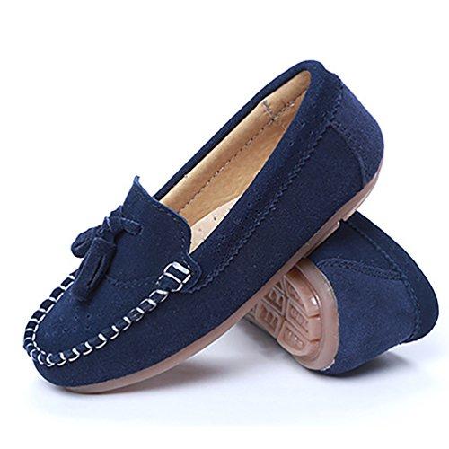 YiJee Jungen Mädchen Flache Loafers Bootsschuhe Freizeit Quaste Schuhe Dunkel Blau