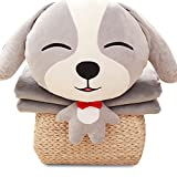 NAS AOSTAR Pillow Blanket Plush Stuffed Animal Toys Throw Pillow and Blanket Set with Hand Warmer