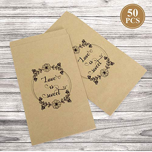 FRIDAY NIGHT Wedding Favors Candy Buffet Bags,50 pcs Brown Kraft Paper Party Favor Bag for Goody,Candy,Snacks]()