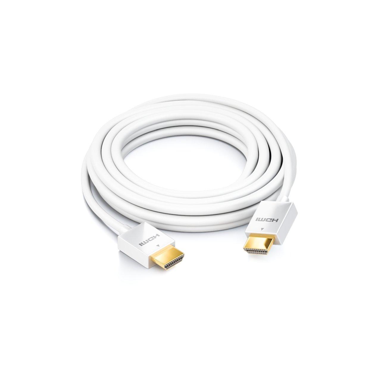 deleyCON Cable HDMI 1,5m delgado muy rápido Ethernet (nuevo estándar) 3D 4K SUPER flexible Blanco: Amazon.es: Electrónica