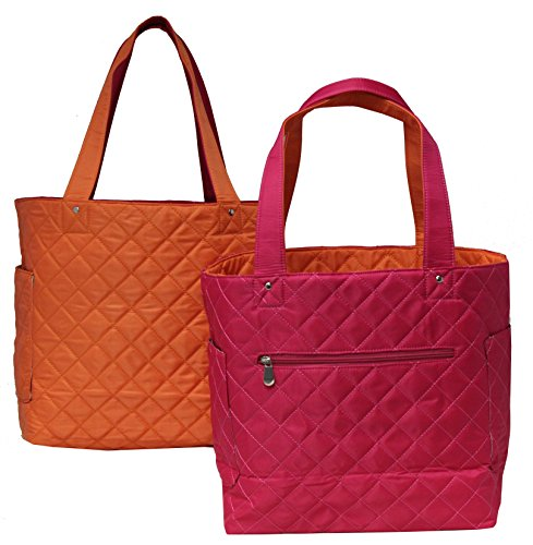 K.Carroll Accessories Bonnie Reversible Quilted Tote - Pink/Orange